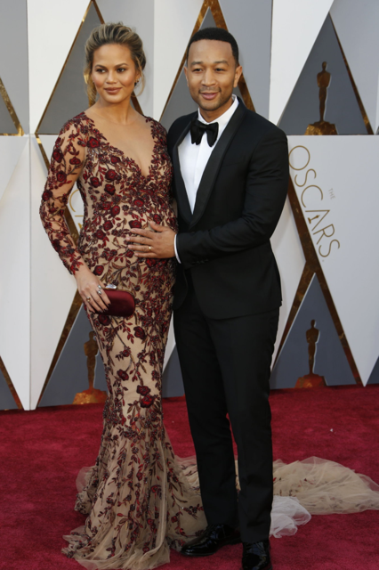 Chrissy Teigen in Marchesa and John Legend
