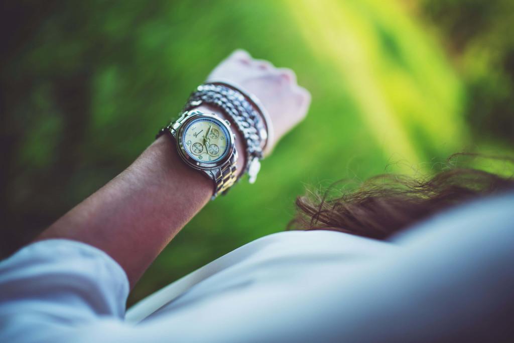 woman wearing wristwatch