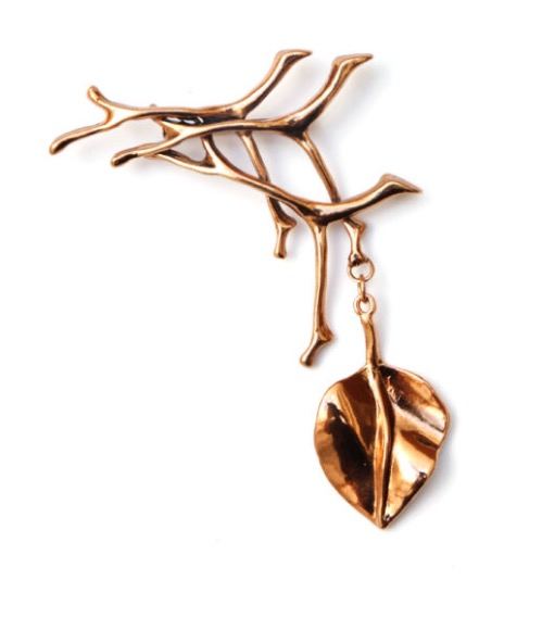 Copper Branch with Leaf Brooch