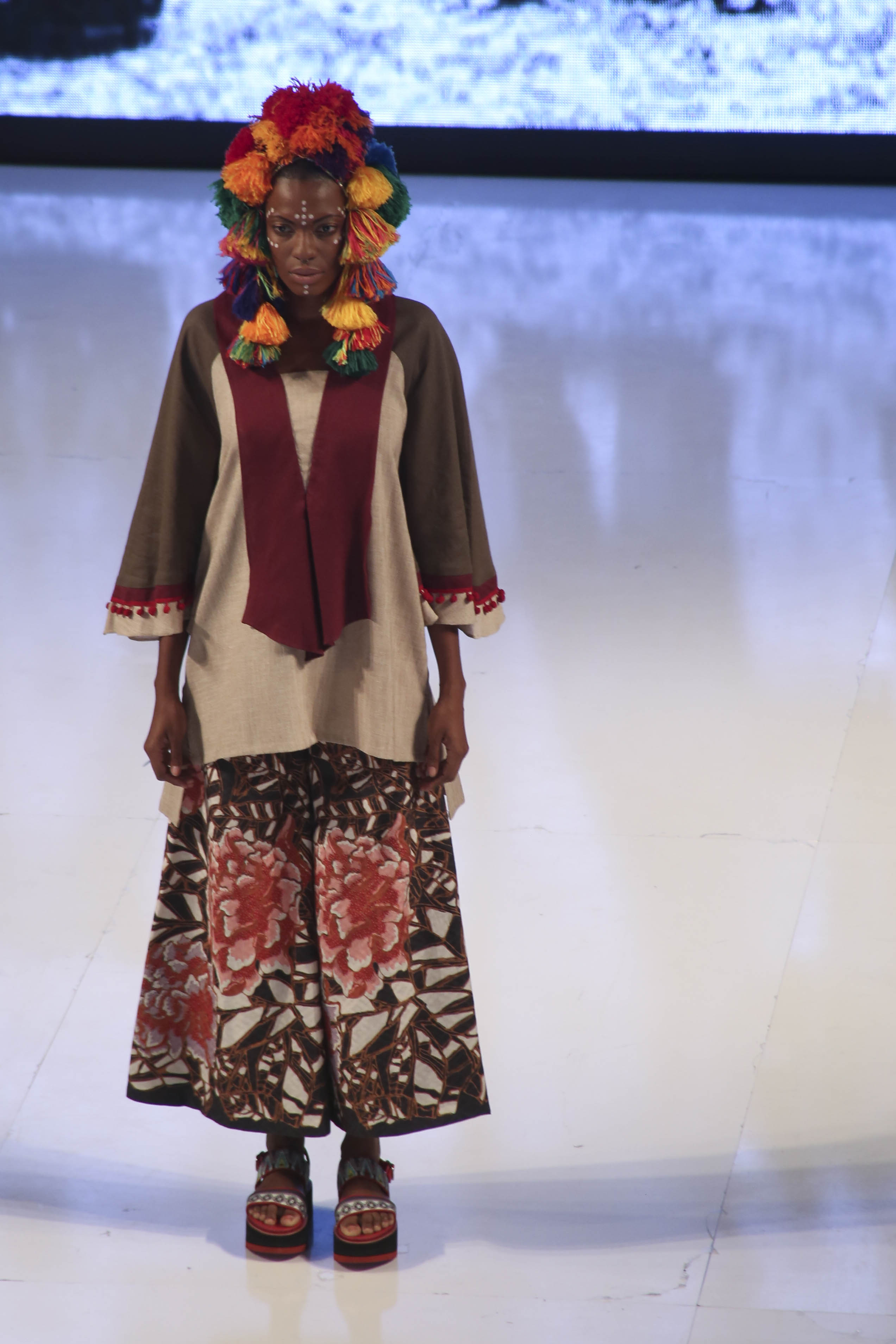 The collection focused on bold prints and colors from traditional Indonesian patterns.