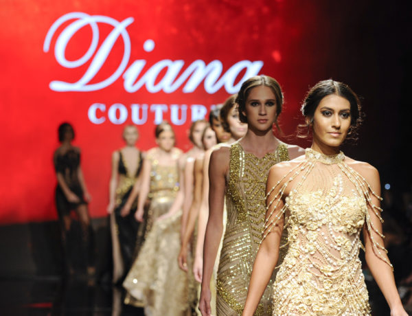 LOS ANGELES, CA - OCTOBER 09: Models walk the runway wearing Diana Couture at Art Hearts Fashion Los Angeles Fashion Week presented by AIDS Healthcare Foundation on October 9, 2016 in Los Angeles, California.  (Photo by Arun Nevader/Getty Images for Art Hearts Fashion)