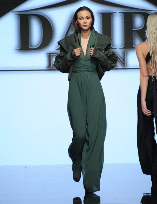 LOS ANGELES, CA - OCTOBER 10: A model walks the runway wearing Dair by Odair Pereria at Art Hearts Fashion Los Angeles Fashion Week presented by AIDS Healthcare Foundation on October 10, 2016 in Los Angeles, California. (Photo by Arun Nevader/Getty Images for Art Hearts Fashion)