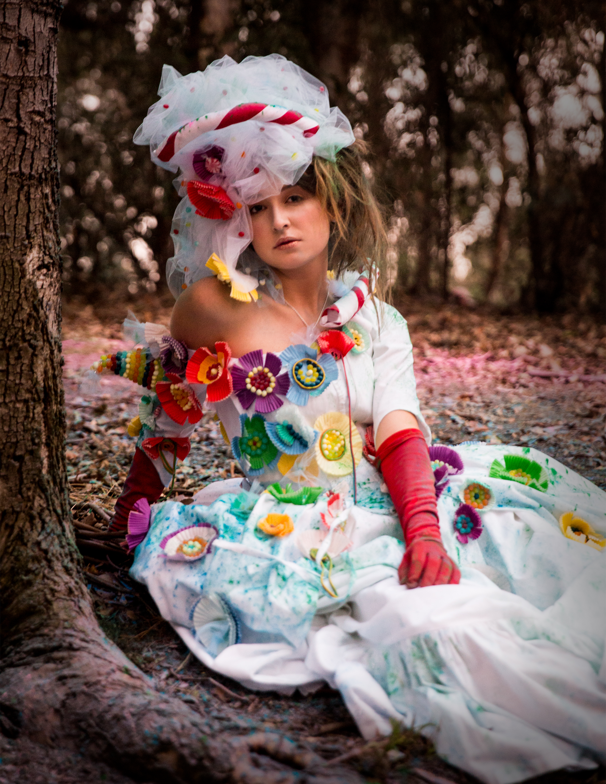 The costume is inspired by Marie Antoinette - 18th century fashion in France. The costume decorations are made from jelly beans, Twizzlers, and muffin cups.  Photography by Pavlina Popovska    Make up by: Toni Scott                    Vanessa Vasquez  Hair: Toni Scott  Designer: Pavlina Popovska   Model: Kiara Beltran