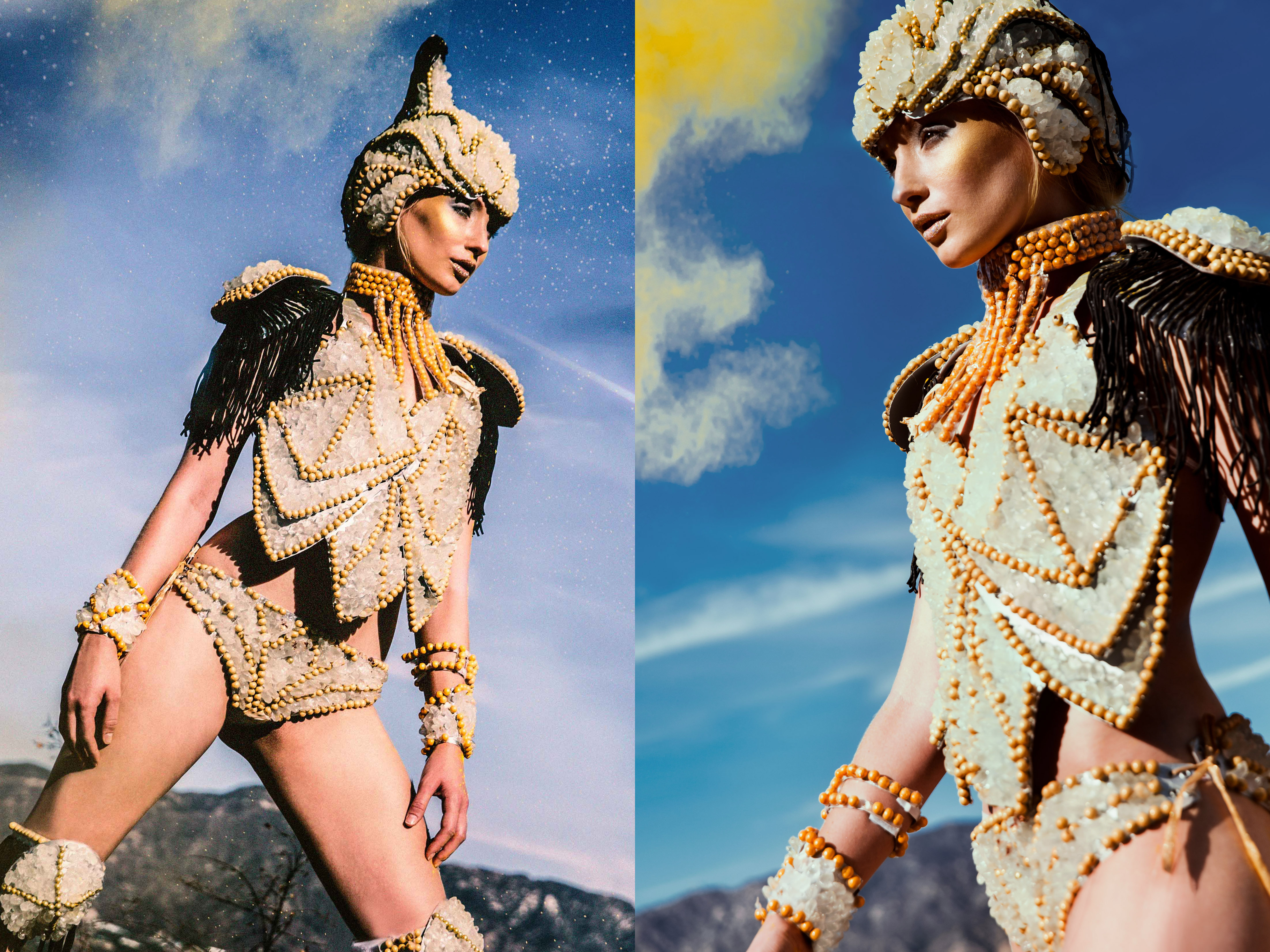 The costume is inspired by the Roman Soldiers clothing. The costume is made of rock candy and jelly beans glued on a paper.    Photography by Pavlina Popovska    Make up by: Toni Scott                    Vanessa Vasquez  Hair: Toni Scott  Designer: Lavini Tang  Model: Natalia Kucharina
