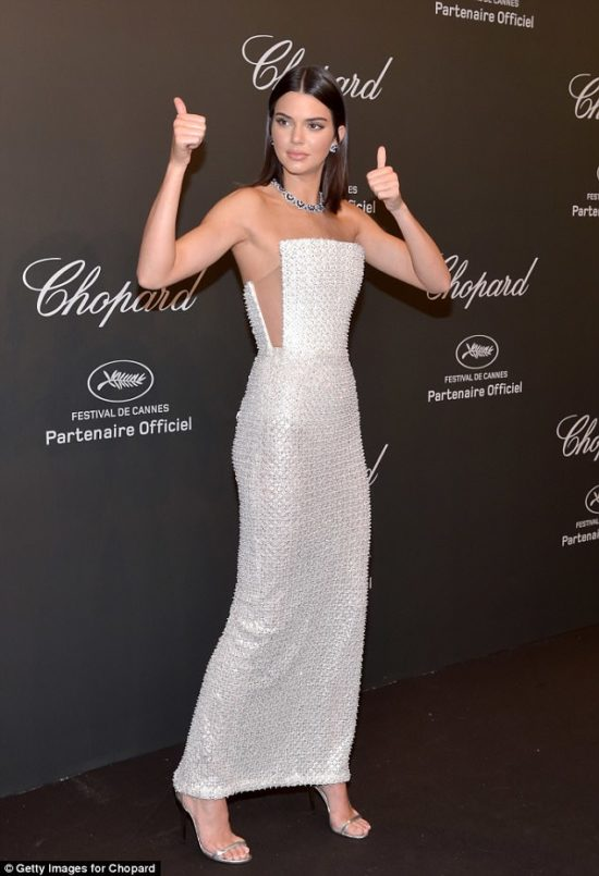 Kendall Jenner attends the Chopard Party at Cannes Film Festival in Ralph & Russo Credit: DailyMail