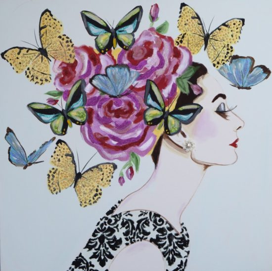 Audrey with Rose Headress and Butterflies
