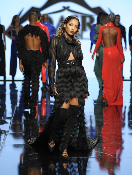 LOS ANGELES, CA - OCTOBER 10: A model walks the runway for the Dair by Odair Pereria fashion show at Art Hearts Fashion Los Angeles Fashion Week on October 10, 2016 in Los Angeles, California. (Photo by Arun Nevader/Getty Images for Art Hearts Fashion)